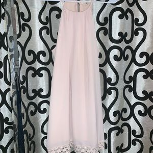 Baby Pink Monteau Lace Trim Sleevless Dress